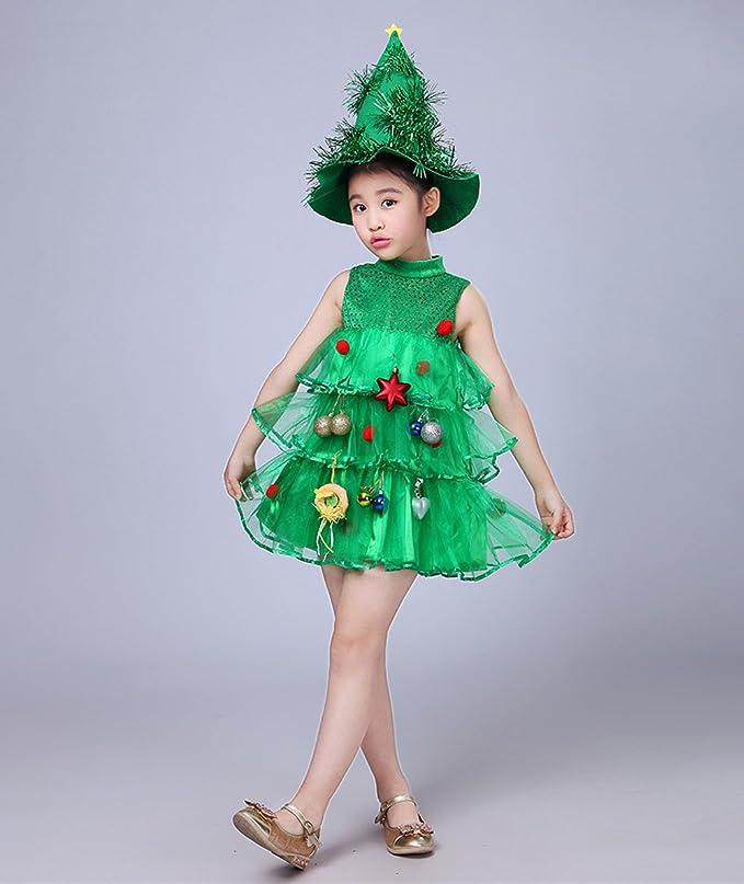 Holacha Vestido de árbol de Navidad, con Sombrero Juego Ropa de Fiesta Disfraz para Niñas Chicas (3-4años): Amazon.es: Ropa y accesorios