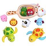 お風呂 おもちゃ シャワー 水遊び 水鉄砲 動物 魚網 ネット 亀 動く 泳ぐ つり 子供 赤ちゃん 10点セット