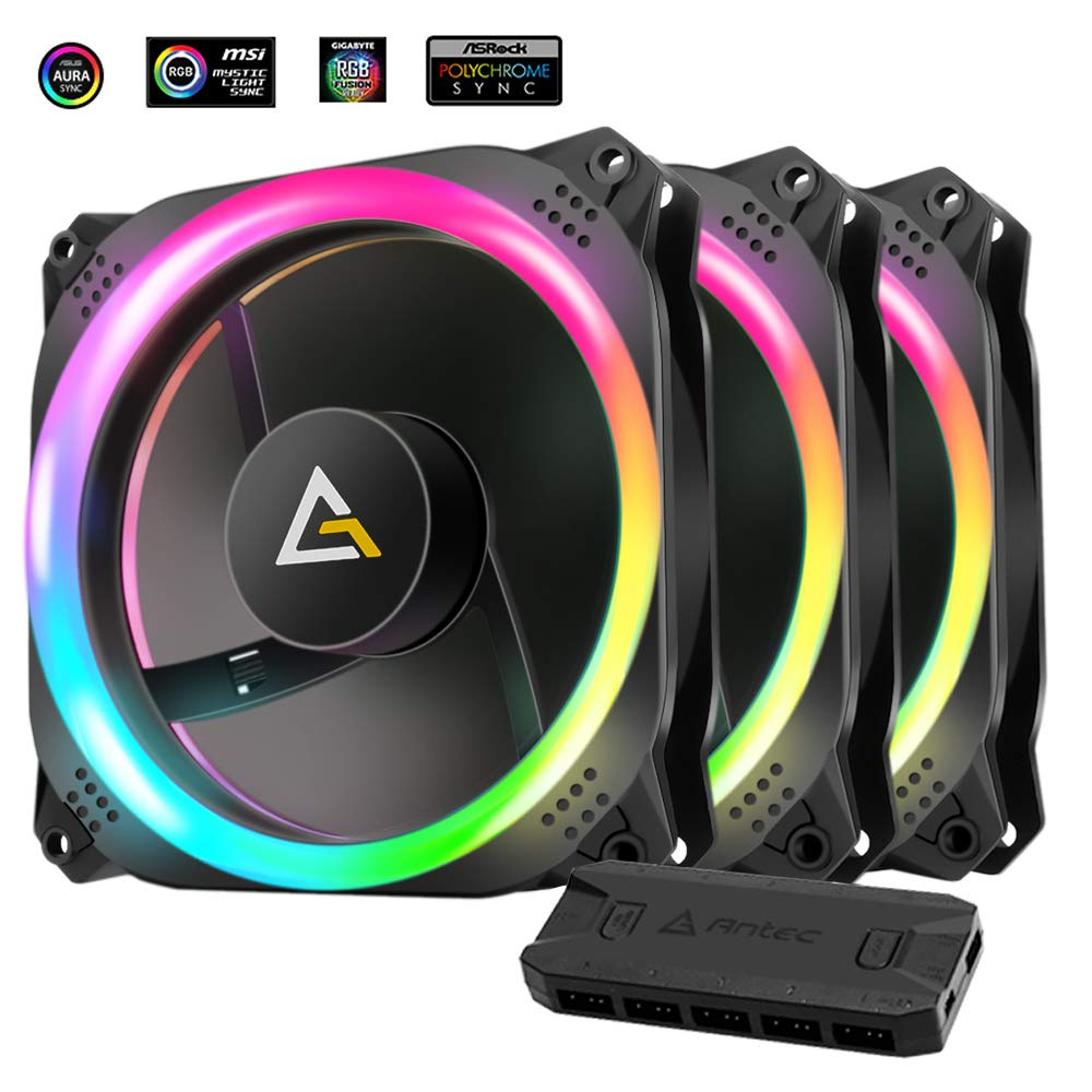 Antec Prizm 120mm Addressable RGB Case Fan Radiator - 3 Pack and 2 RGB Strips