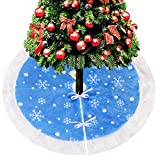 Image of D-FantiX 48-Inch Traditional Velvet Christmas Tree Skirt Holiday Christmas Decorations Large (Blue and White)
