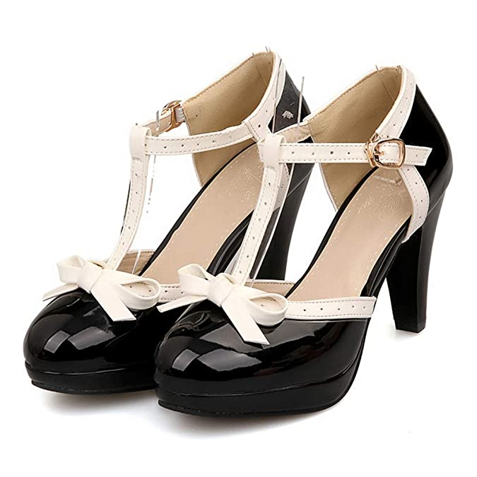 Rockabilly Shoes- Heels, Pumps, Boots, Flats Lucksender Fashion T Strap Bows Womens Platform High Heel Pumps Shoes $37.99 AT vintagedancer.com