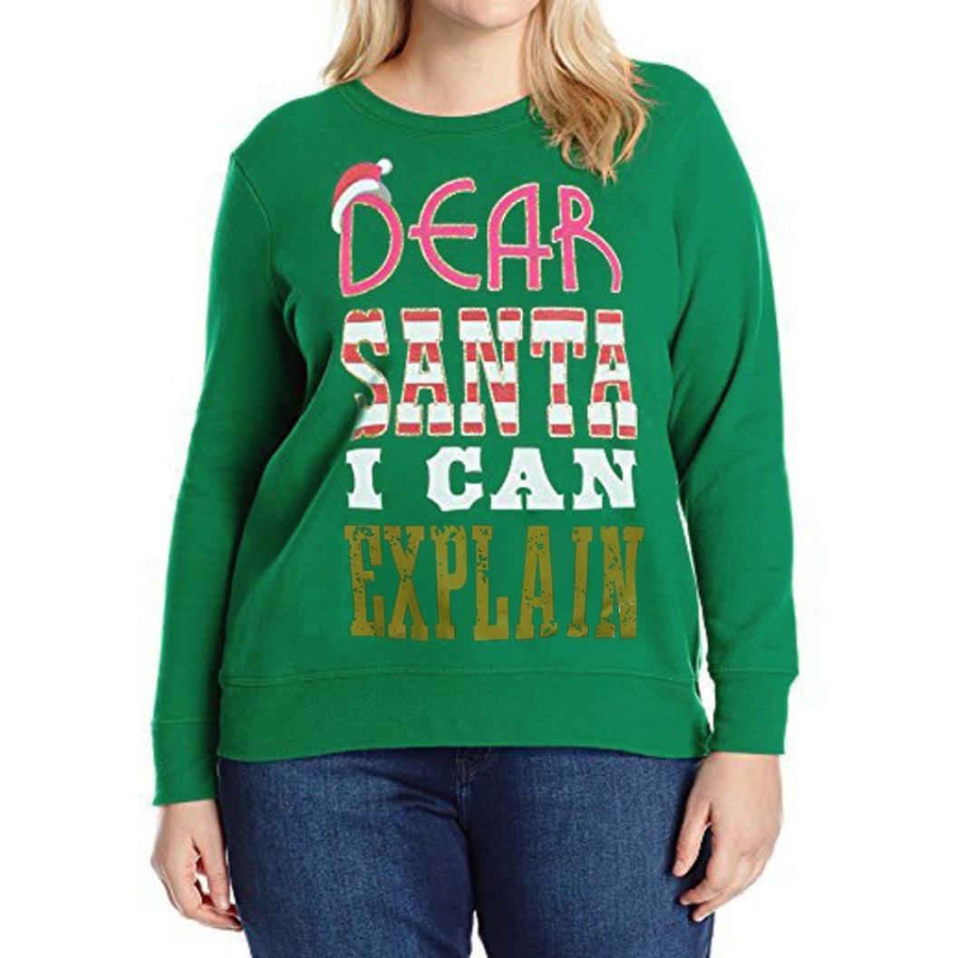 レディースクリスマス文字カジュアルスウェットシャツ長袖シャツブラウスゆったりプラスサイズTop B077D55ZSS XXXXL|Green (DEAR SANTA) Green (DEAR SANTA) XXXXL