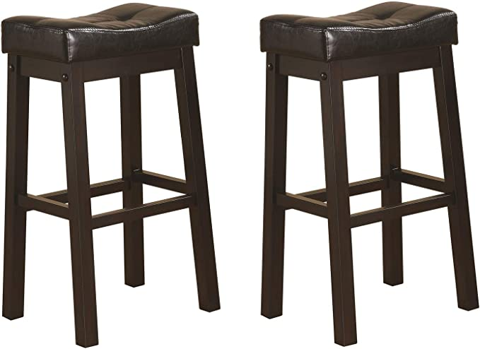 Sofie 29 Upholstered Seat Bar Stools Black And Cappuccino Set Of 2 Furniture Decor Amazon Com