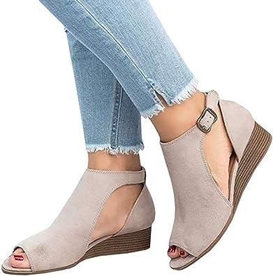 Yu Li Womens Low Heel Open Peep Toe
