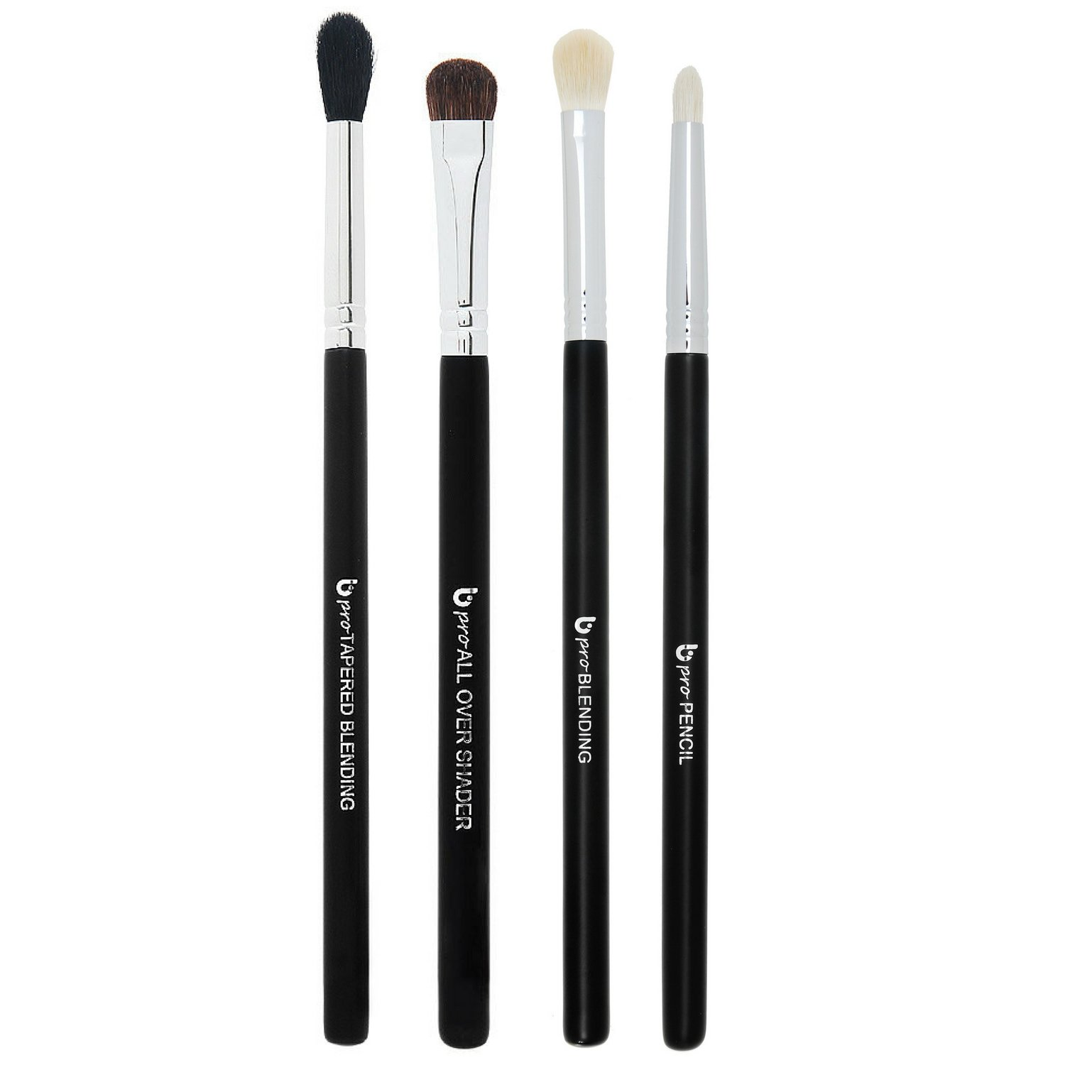 Basic Eye Makeup Brushes Includes 4 Must Have Eyeshadow Brush Set: Pencil, Tapered Blending, All Over Shader, Blending
