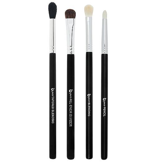 Basic Eye Makeup Brushes Includes 4 Must Have Eyeshadow Brush Set: Pencil, Tapered Blending, All Over Shader, Blending
