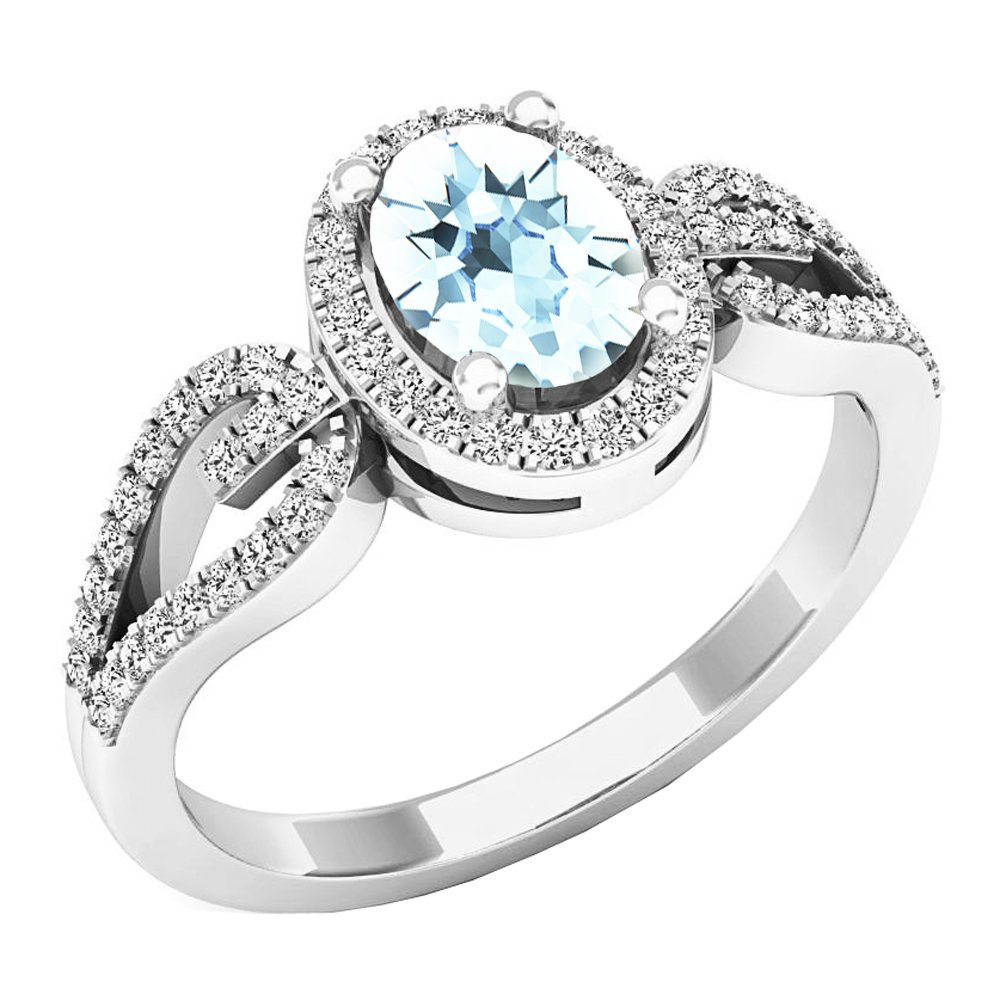 Sterling Silver 7X5 MM Oval Cut Aquamarine & Round Diamond Bridal Halo Engagement Ring (Size 6)
