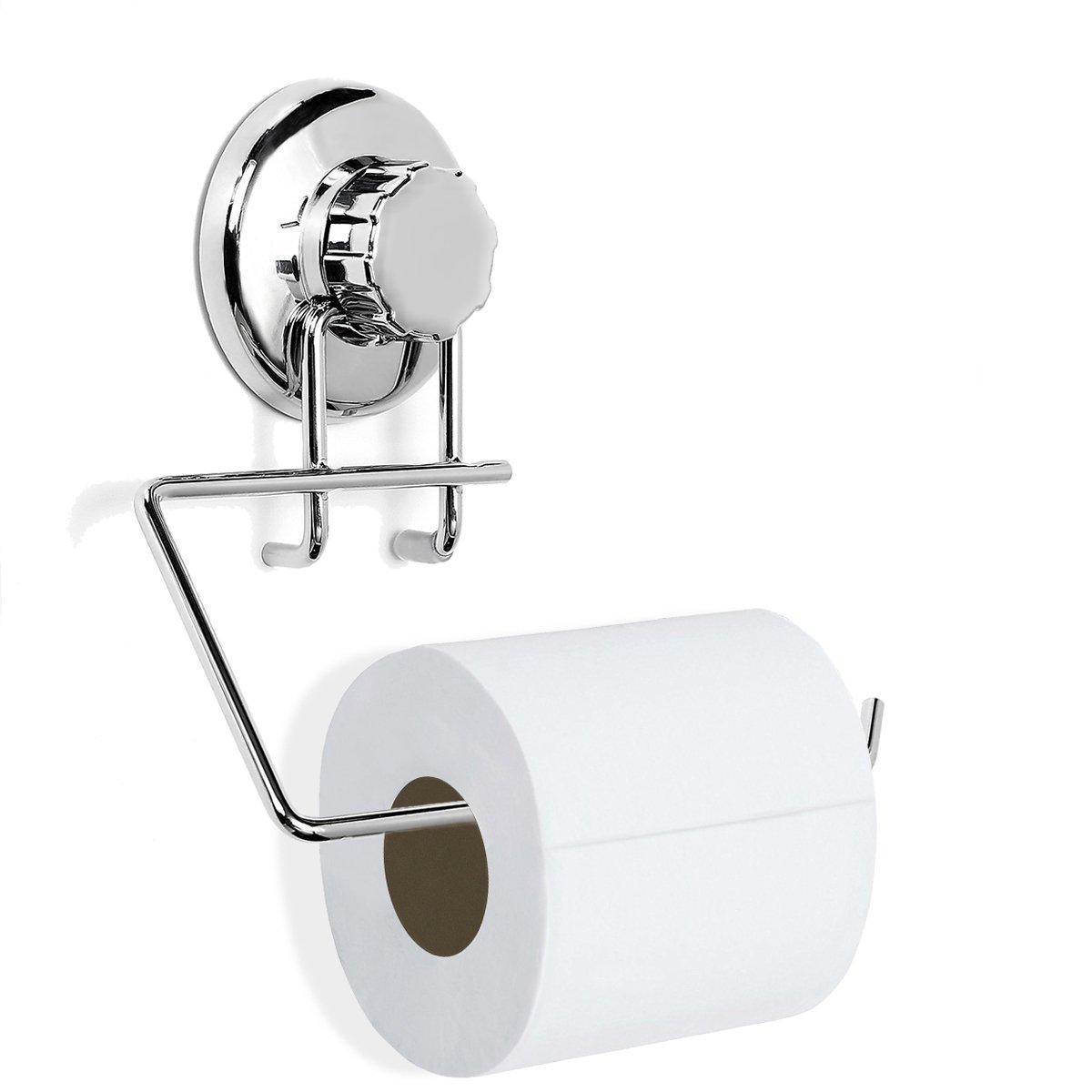 Tapcet, porta-rotolo di carta igienica in acciaio inox con ventosa, senza necessità di trapanare, per bagno o cucina