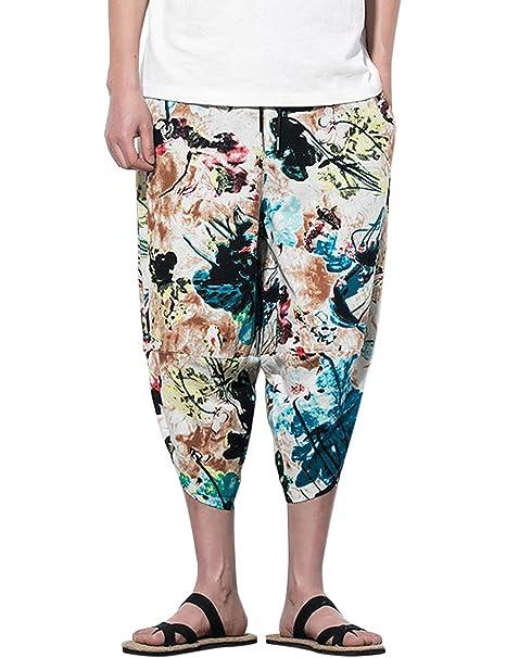 TAAMBAB De Los Hombres Impreso Suelto Recortada Pantalones ...