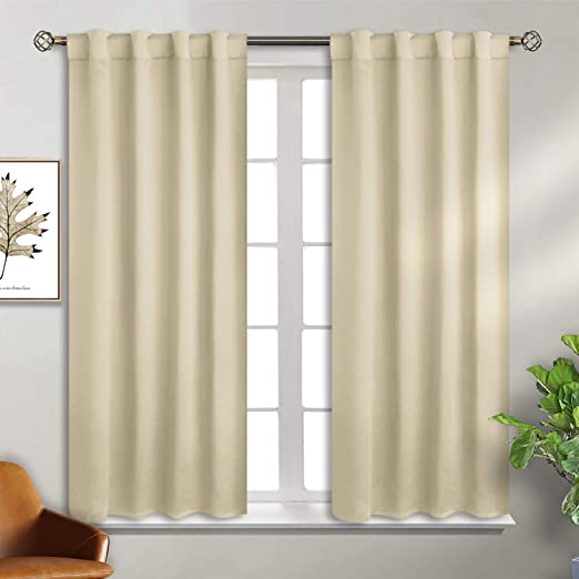 Deconovo Black Blackout Curtains for Kitchen Back Tab and Rod Pocket Curtain Panels Window Treatments 38x45 Inch 2 Panels