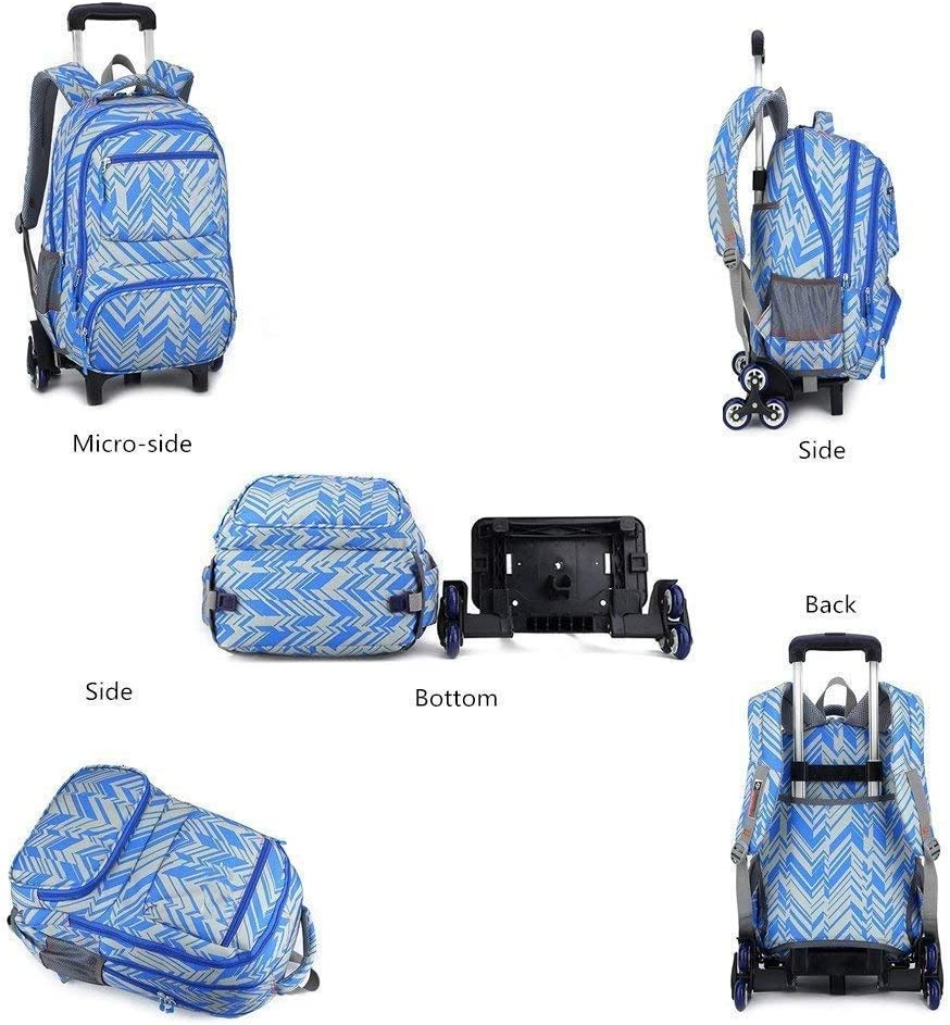 CcBeatY Oversized Load Multi-Compartment Wheeled Rolling Backpack Luggage for Kids