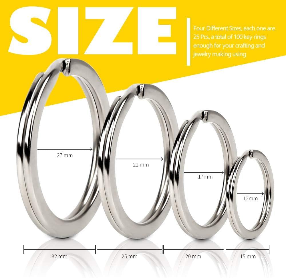 500 x 25mm HEAVY DUTY.STEEL SPLIT RINGS,KEY RINGS,CONNECTORS,FINDINGS,