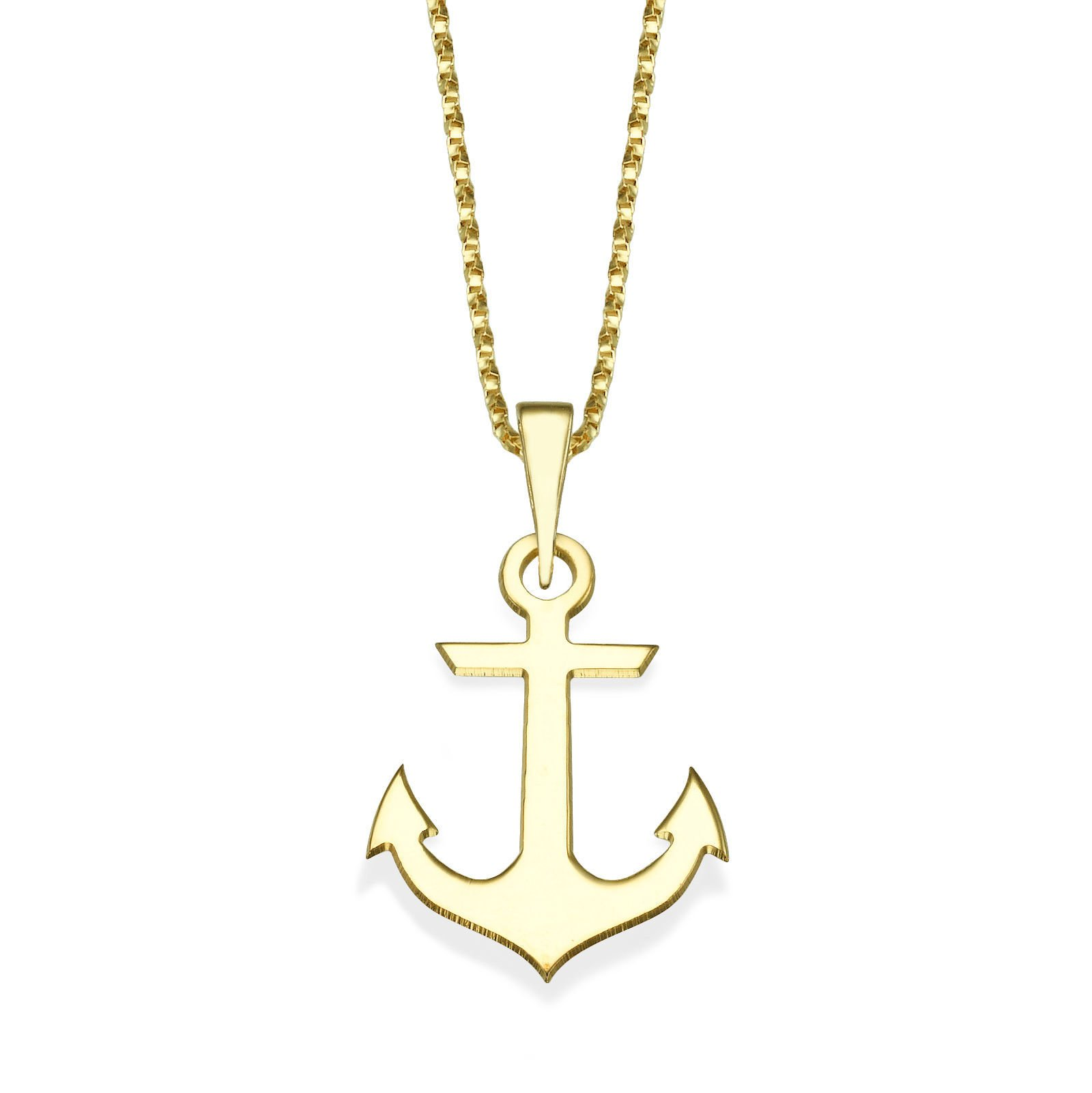 14K Yellow Gold Golden Anchor Pendant With Necklace by youme Gold Jewelry