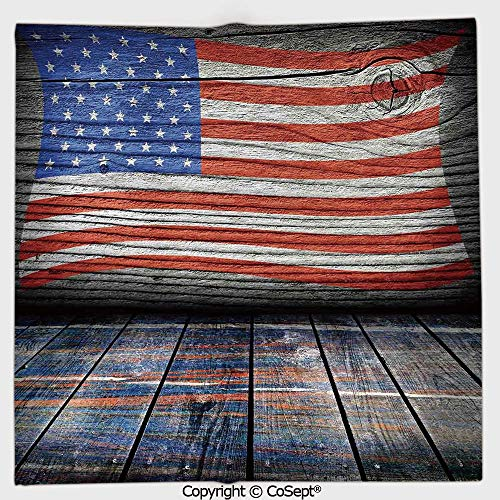 AmaUncle Microfiber Square Towel,Fourth of July Independence Day Wooden Looking Floor Log View Wall Rippled Image,Suitable for Camping,Running,Cycling,Gym(9.84x9.84 inch),