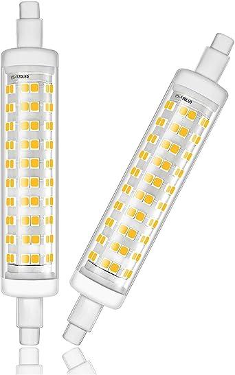 EBD Lighting 118mm R7s LED Bulb J Type 118mm Double Ended 8W 6000K Cool White 80W Halogen Light Bulbs Equivalent R7S Double Ended Filament Flood Lights Quartz Tube Lamps,AC85-265V 2 Pack