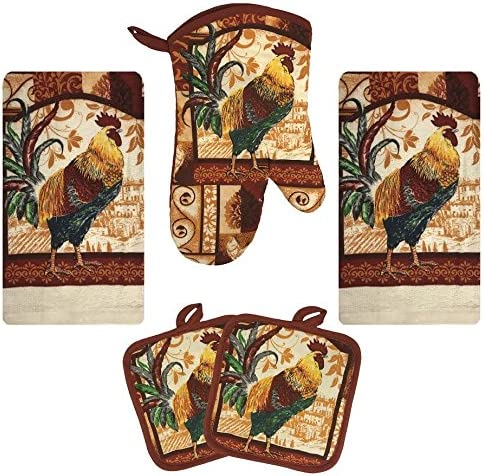 Farm Rooster Kitchen Decor Linen Set Includes 2 Dish Towel 2 Pot Holders 1  Oven Mitt | Kitchen Towel Set For Cooking, Baking, Housewarming and Kitchen  ...