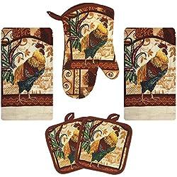 Kitchen Towel Set 5 Piece Towels Pot Holders Oven Mitt Decorative Design Everyday Use (5 Piece Set, Farm Rooster)