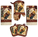 Kitchen Towel Set 5 Piece Towels Pot Holders Oven Mitt Decorative Design Everyday Use (5 Piece Set, Farm Rooster)