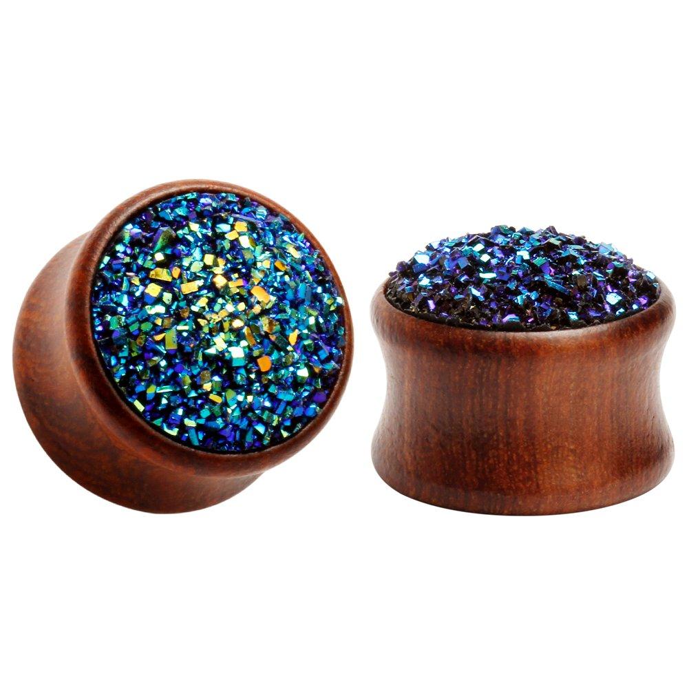 KUBOOZ wood ear pugs tunnel piercing body jewelry ear gauges (10mm(00G)) by KUBOOZ