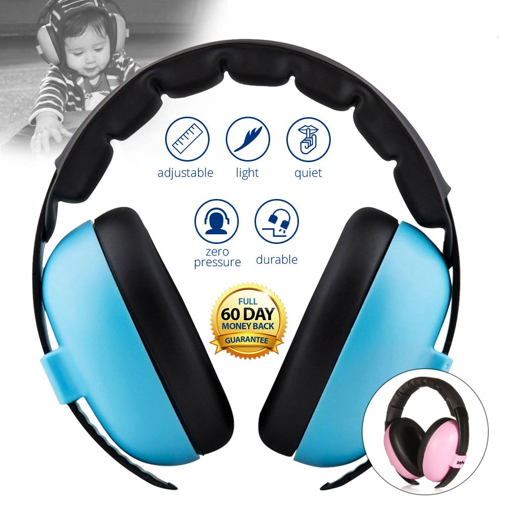Baby Noise Cancelling HeadPhones, Baby Earmuffs, Baby Headphones, Baby Ear Protection, Baby headphones noise reduction, Blue by BB&PRO (Image #1)