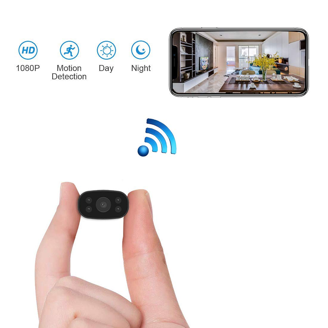 Hidden Security Cameras HUOMU Mini spy cam 1080P HD Wireless WiFi Remote View Tiny Home Surveillance Cameras Indoor Outdoor Video Recorder Smart Motion Detection by HUOMU