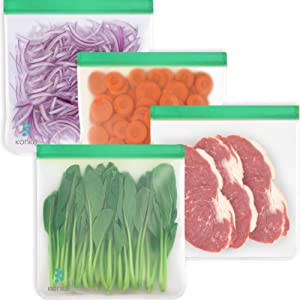 Reusable Food Storage Bags - 4 Packs 1 Gallon Freezer Ziplock Bags, LEAKPROOF Lunch Ziplock Bags for Food Travel Make-up Home Organize