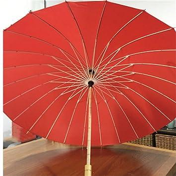 paraguas Mango de madera Paraguas, color sólido Retro simple de 24 hueso de mango largo