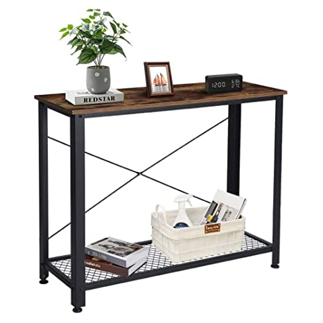 Terrific Rustic Console Table Vintage Entryway Table Industrial Sofa Table 2 Tier Narrow Entry Table With Metal Grid Storage Shelf For Home Living Room Squirreltailoven Fun Painted Chair Ideas Images Squirreltailovenorg