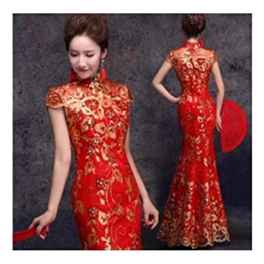 Fidgetgear Red Hot Chinese Cheongsam Formal Evening Prom Wedding
