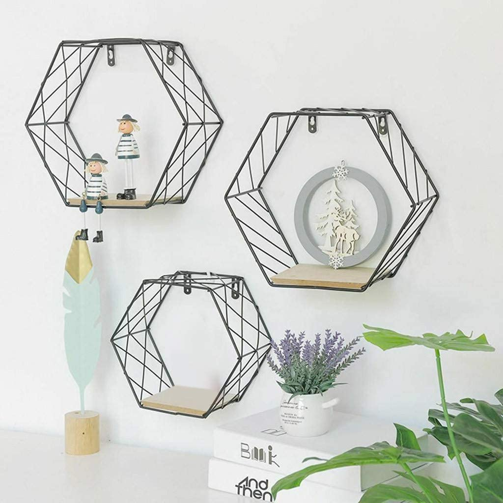 OKEYsoe /Étag/ère murale hexagonale en fer pour d/écoration de salon l