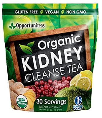 Organic Kidney Cleanse Tea - Feel Great By Mixing 1 Scoop In Any Drink or Food. Kidney Detox Supplement Featuring Matcha Green Tea, Cranberry, Lemon, & Ginger. Vegan, Non GMO, & Gluten Free