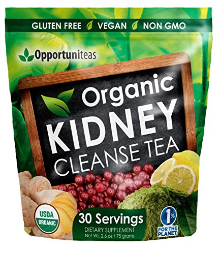 Organic Kidney Cleanse Tea - 4 Superfoods to Mix in Smoothie or Drink - Matcha Green Tea, Cranberry, Lemon, Ginger - Detox Health Supplement Powder - Vegan & Non GMO ()