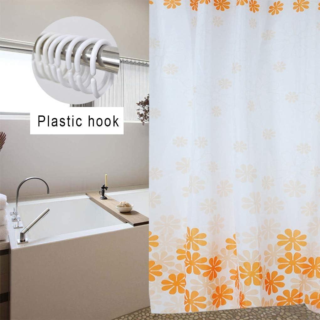 Resistente al agua Mouldproof Opacidad ba/ño cortina de ducha con 12/ganchos Naranja 180CM*200CM