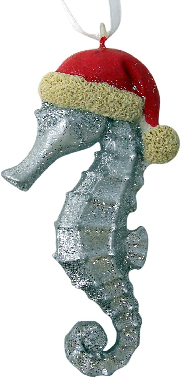 Unison Set of 3 White Glitter Seahorse Hanging Christmas Ornament 4 1//4 Inch