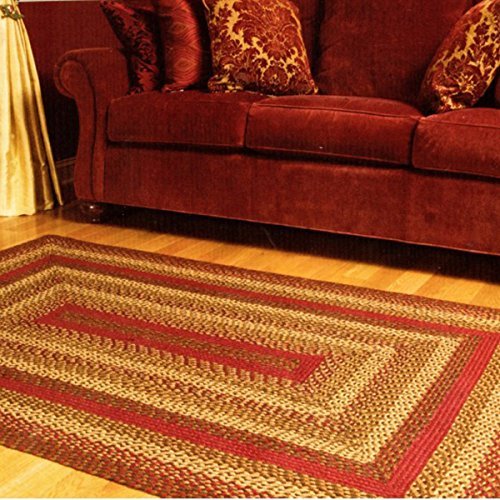 IHF Home Decor Cinnamon | Braided Rectangle Area Rugs for Office, Living Room, Porch, Dormitory | 100% Natural Jute Fabric Mat | Thick Multicolored Accent Floor Carpet - Diameter 20