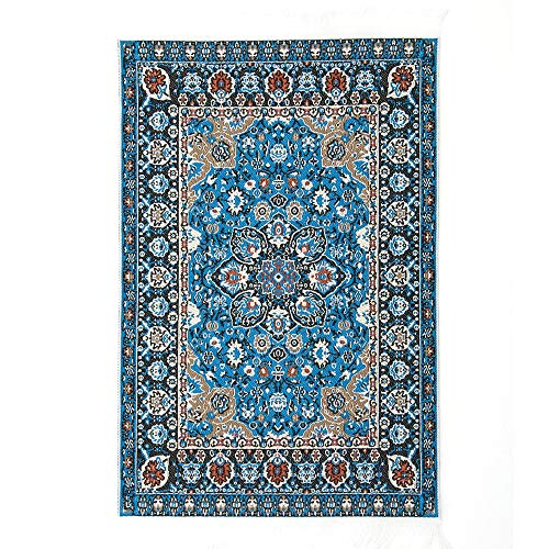 Embroidered Carpet - Blue Stones 1017cm 1:12 Dollhouse Miniature Embroidered Carpet Woven Floral Rug Floor Coverings Gifts Decoration Craft Figurines Miniatures