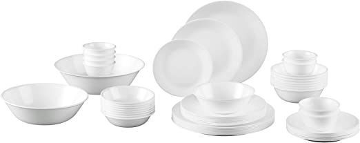 24-Piece Winter Frost White Dinnerware Set Lightweight Break Resistant Oven Safe