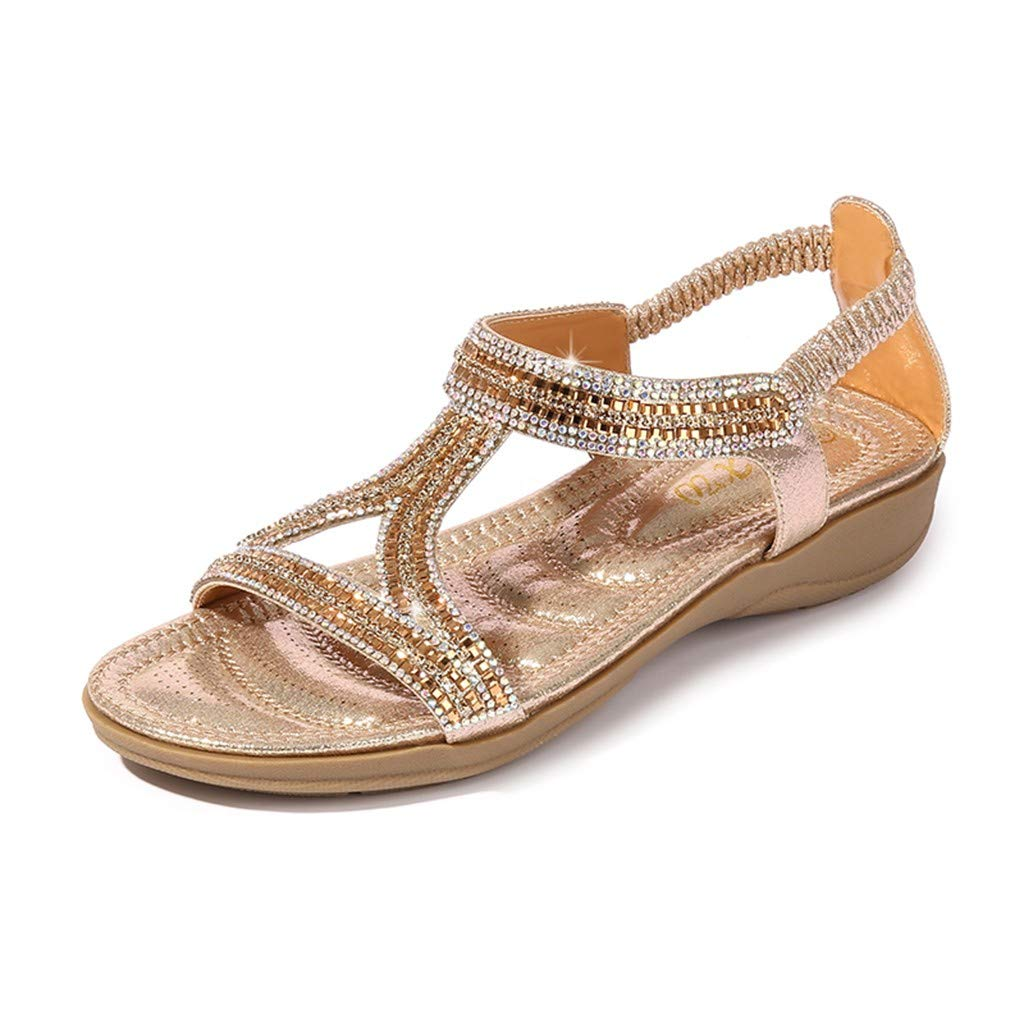 LuluZanm Flat Sandals for Women,Ladies Summer Bling Crystal Casual Shoes Beach Peep-Toe Hollow Cross Belt Beach Shoes