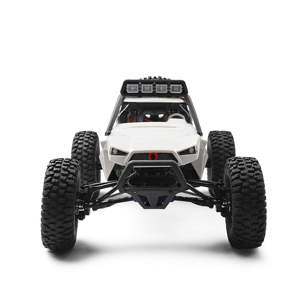 Auvem RC Electric Car, 1:12 Crawler 4WD 2.4G Electric Car with LED Lights RC Off-Road Radio Remote Control Truck, High Speed Racing Monster Truck Hobby Rock Crawler Toy (White) by Auvem (Image #4)