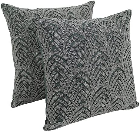Blazing Needles IN-20273-20-S2-GY-SV Arching Fans Beaded Throw Pillow Set, 20-Inch, Set of 2