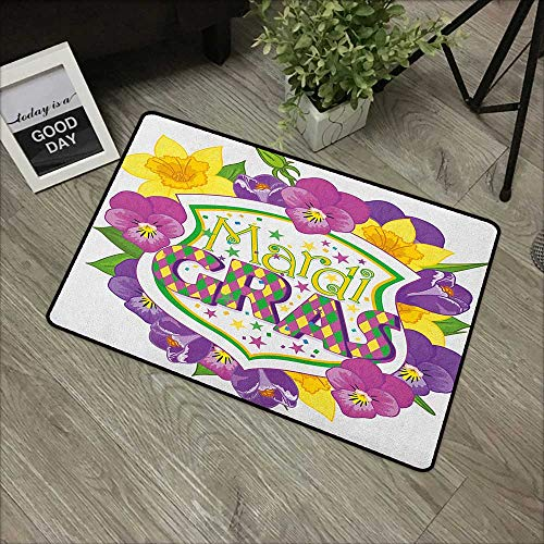 Restaurant mat W35 x L59 INCH Mardi Gras,Blazon with Flourishing Colorful Flowers Coat of Arms Masquerade Holiday Theme, Multicolor Our bottom is non-slip and will not let the baby slip,Door Mat Carpe