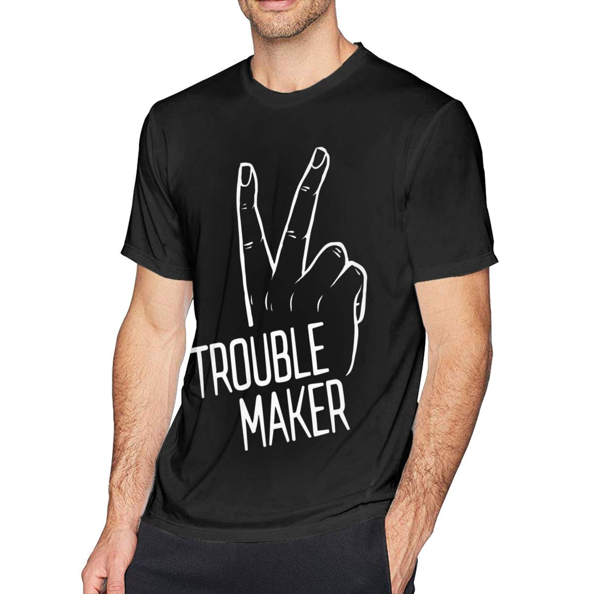 Bfcxbgdsig Trouble Maker Soft and Comfortable Fashionable Tshirt with Round Collar Black