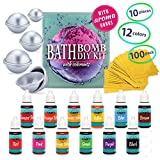 DIY Bath Bomb Kit - Bath Bomb Mold Kit with Dried Flowers for Bath Bomb Making - Bath Bomb Molds for Bath Bombs - Bath Bomb Making Kit with Soap Dye Colorants, Shrink Wrap Bags, Present Wrapping Paper