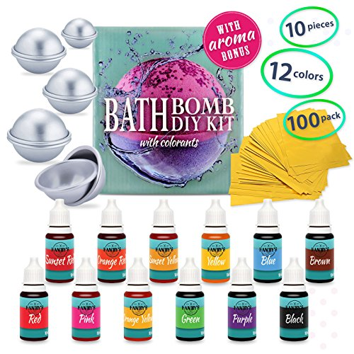 DIY Bath Bomb Kit - Bath Bomb Mold Kit with Dried Flowers for Bath Bomb Making - Bath Bomb Molds for Bath Bombs - Bath Bomb Making Kit with Soap Dye Colorants, Shrink Wrap Bags, Present Wrapping Paper -