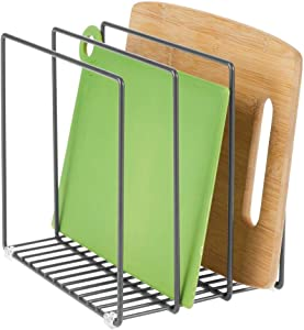 mDesign Metal Wire Cookware Organizer Rack for Kitchen Cabinet, Pantry and Shelves - Organizer Holder with 3 Slots for Cookie Trays, Muffin Tins, Bread Pans, Cutting Boards, Baking Stones - Graphite