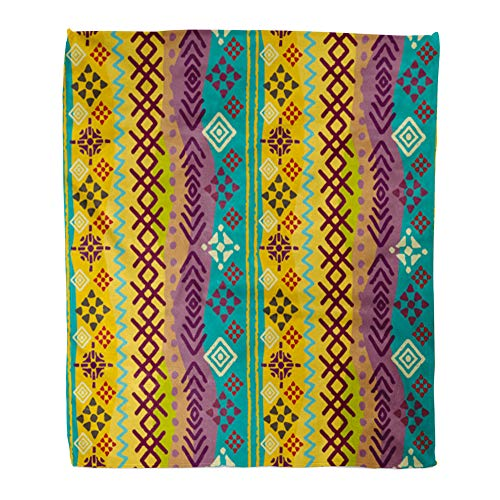 Emvency Throw Blanket Warm Cozy Print Flannel African Ethnic Boho Tribal Colorful Border Batik Flower Comfortable Soft for Bed Sofa and Couch 50x60 Inches ()