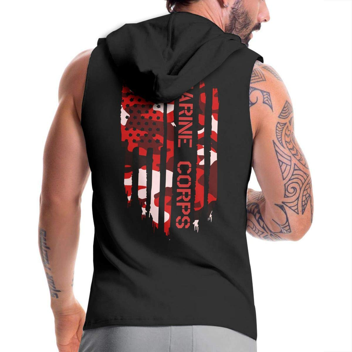 Ice-Long Out X American Flag US Navy Mens Fashion Sleeveless Zip-up Hoodie Black with Pocket