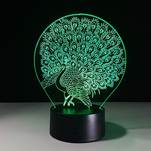 Peacock Open Screen 3D LED Night Light Table Desk Lamps, Elstey 3D Optical Illusion Visual Lamp 7 Colors Touch Table Desk Lamp for Christmas Gift