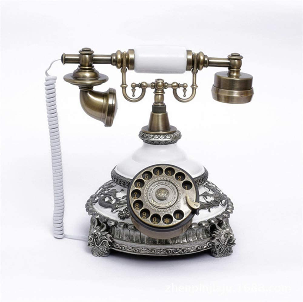 XICHEN Vintage White Style Retro Old Fashioned Rotary Dial Telephone- Hotels/Galleries/Jewellery firms/Home and Office Telephone Elegance Ceramics Plus Resin Zinc Alloy