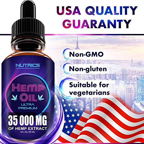 61zlbEa%2BC6L - Hemp Oil 35 000 MG, 100% Hemp Extract, Natural Dietary Supplement, Supports Anti-Anxiety and Stress Health, Rich in Omega 3 and 6 Fatty Acids for Skin & Hair Health, Vegan Friendly